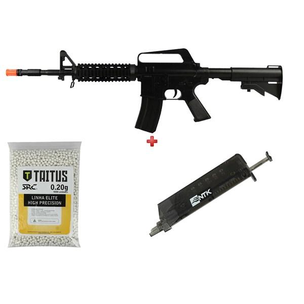 Rifle Airsoft Spring Vigor M16 RIS + BBs SRC Taitus 0.20g + Speed Loader AX