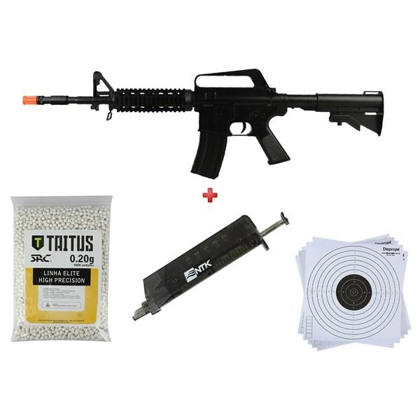 Rifle Airsoft Spring Vigor M16 RIS + BBs SRC Taitus 0.20g + Speed Loader AX + Alvo 14x14