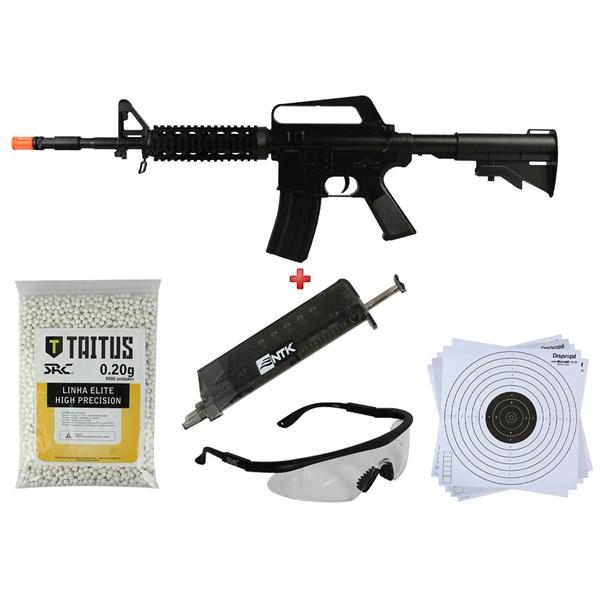 Rifle Airsoft Spring Vigor M16 RIS + BBs SRC Taitus 0.20g + Speed Loader AX + Óculos + Alvo 14x14
