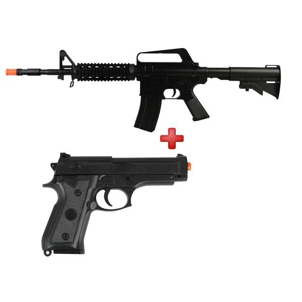 Rifle Airsoft Spring Vigor M16 RIS Black + Pistola Airsoft Spring Vigor P92