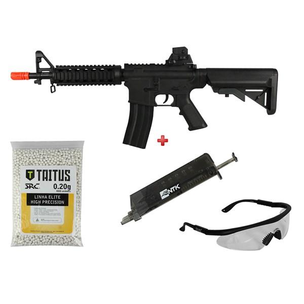 Rifle Airsoft Spring Vigor M4 + BBs SRC Taitus 0.20g + Speed Loader AX + Óculos SteelPro Eagle
