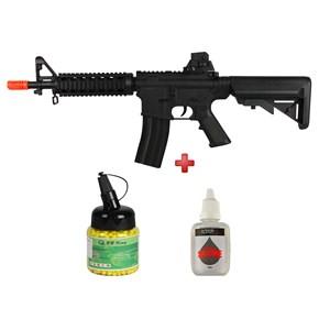 Rifle Airsoft Spring Vigor M4 CQB Black + BBs BB King 0.12g 1000un + Óleo Silicone