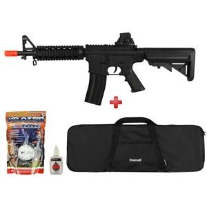 Rifle Airsoft Spring Vigor M4 CQB Black + Capa Simples + BBs Velozter 0.12g 2000un + Óleo Silicone
