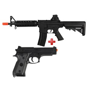 Rifle Airsoft Spring Vigor M4 CQB Black + Pistola Airsoft Spring Vigor P92