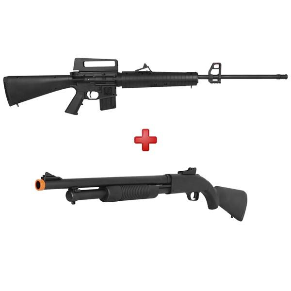 Rifle Pressão Rossi M-16R S 5.5mm + Bandoleira + Rifle Airsoft Spring Shotgun Cyma ZM61A
